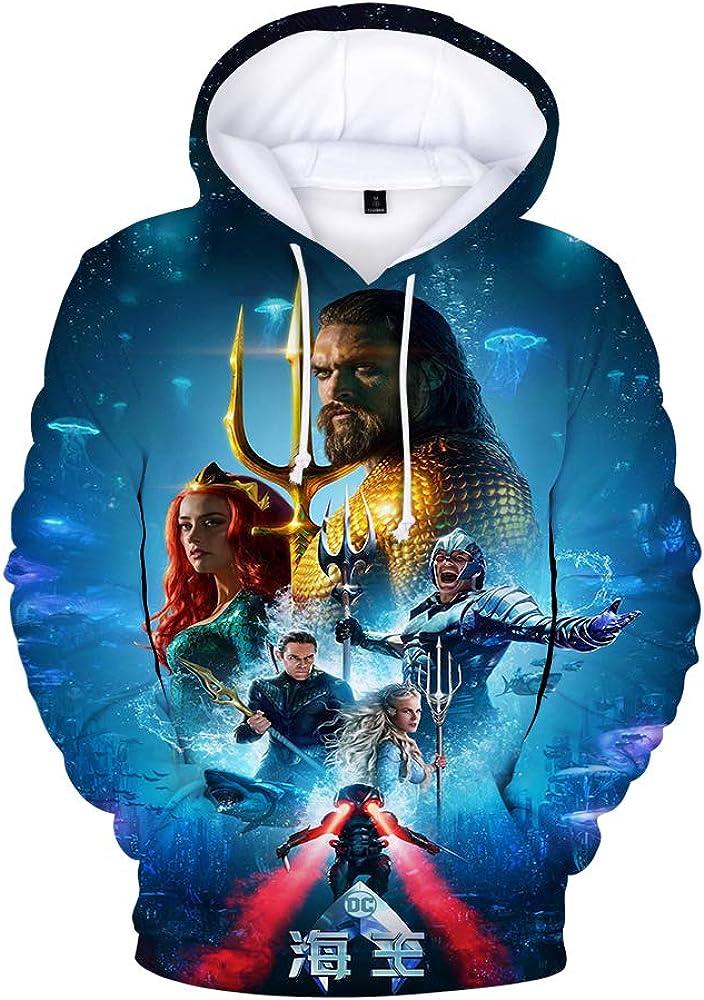 Rkjhgiikjf Aquaman Pullover Felpa con Cappuccio Trendy Blu Felpa Tempo Libero Felpa con Cappuccio for Adulti e Bambini Stampa Pullover