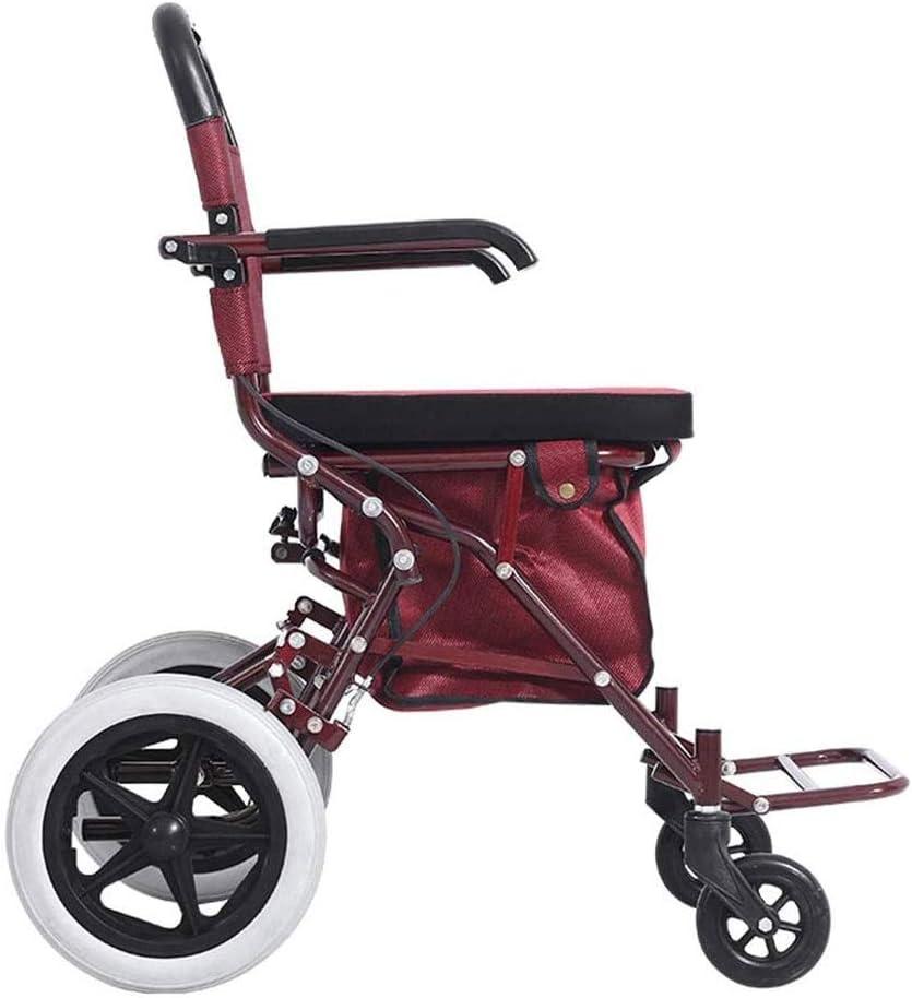 Scooter de edad avanzada para compras y comestibles, asiento plegable plegable de cuatro ruedas con canasta y carrito de compras