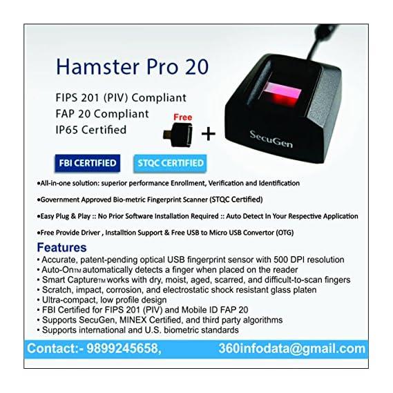 time office Startek FM220U Fingerprint Scanner with Type C USB Port (White)