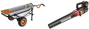 """WORX WG050 Aerocart 8-in-1 All-Purpose Wheelbarrow/Yard Cart/Dolly, 18"""" x 12"""" x 42"""", Orange, Black, and Silver with WG584 40V Power Share Turbine Cordless Leaf Blower with Brushless Motor"""