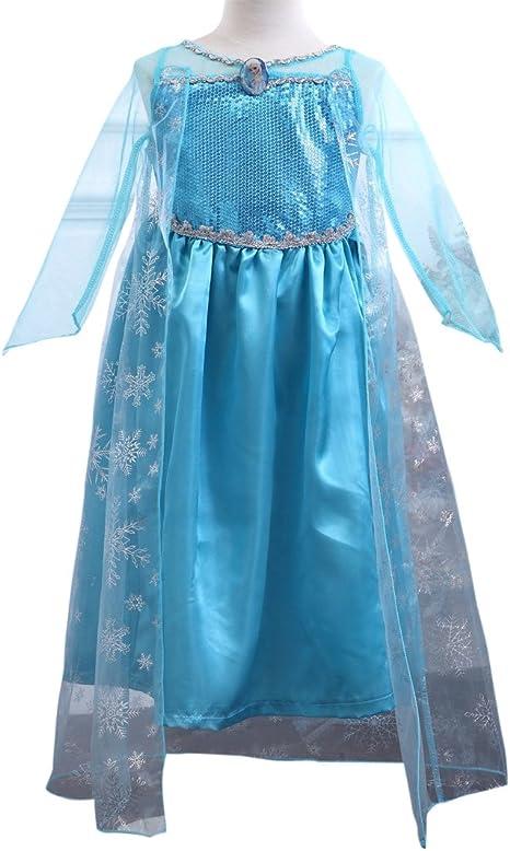 MissFox Traje De Frozen Elsa Disfraz Para Niña 140CM Luz Azul ...