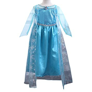MissFox Traje De Frozen Elsa Disfraz Para Niña 120CM Luz Azul ...