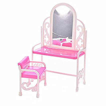 Amazon.com: LANDOR Dressing Table And Chair Set For Barbies ...