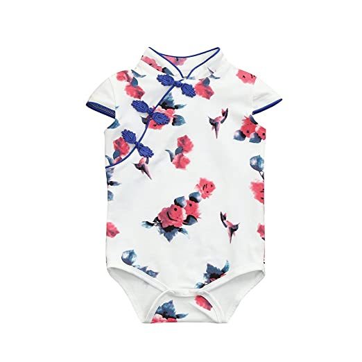 44dfcb0ab90e Amazon.com  Baby Girls Infant Toddler Rose Flower Print Romper ...