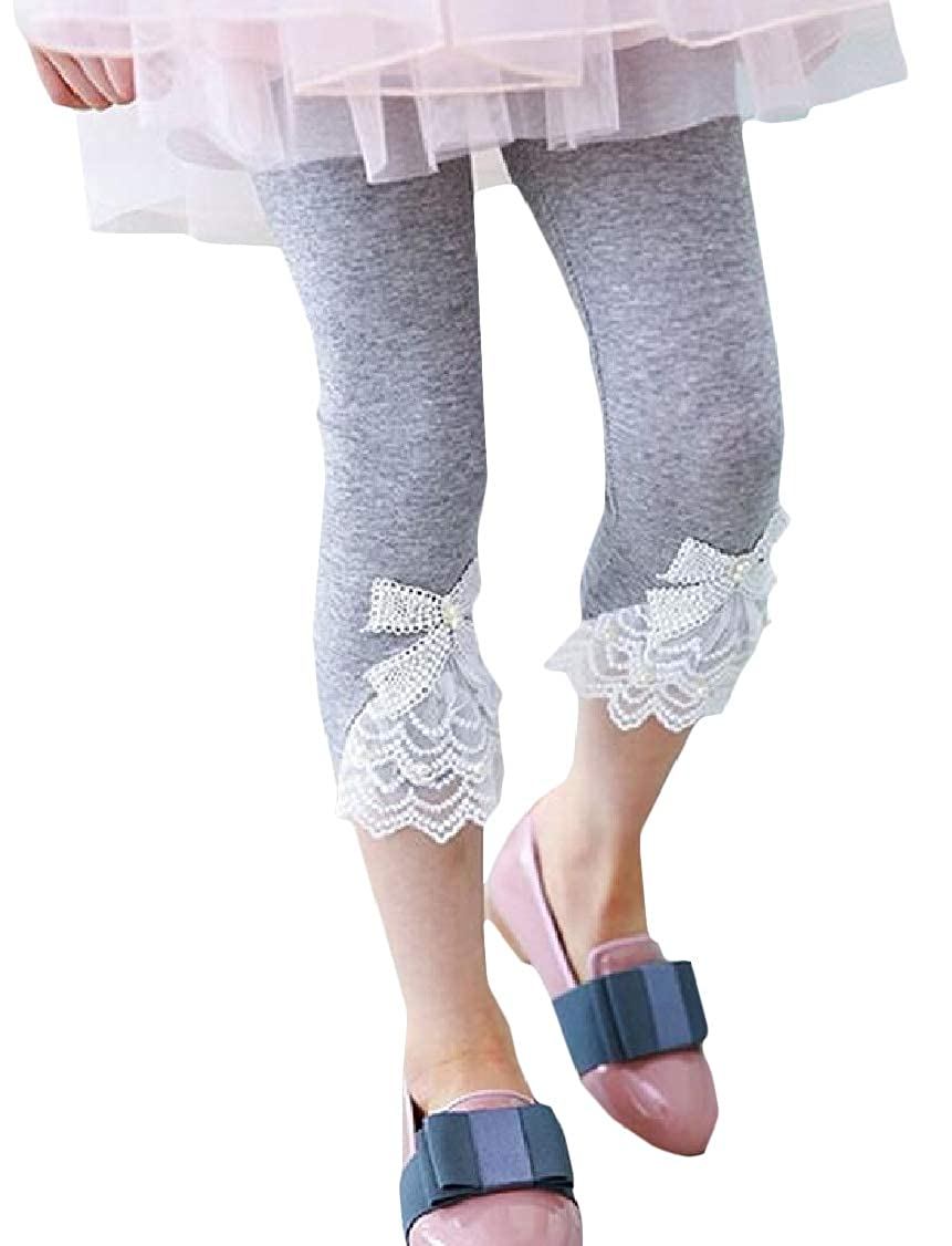 Lutratocro Girls Pants Summer Capri Cute Lace Trim Slim Fit Legging