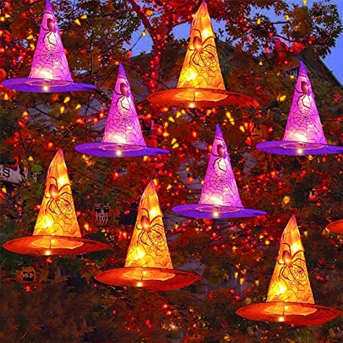 Funpeny Halloween Decoration Lights, 8 PCS Waterproof Hanging Witch Hat with String Lights with Remot and Timer, Hanging Halloween Decorations Outdoor for Garden Yard Decorations Outdoor