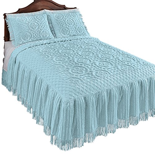 Collections Etc Matrix Lattice Chenille Bedspread, Light Blue, Queen (Bedspread Chenille Queen)