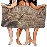 Doormat shirts Deer Antlers On Wood Table Rustic Texture Surface Hunting Season Soft Lightweight Beach Towel Pool Towel 31'' X 51'' inch