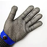 Blue Safety Cut Proof Stab Resistant Stainless Steel Metal Mesh Butcher Glove High Performance Level 5 Protection Size XL