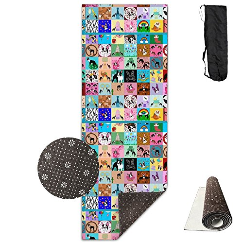 CxiunjUS159 Crazy Faux Boston Terrier Ultra-Durable, Non-Slip, Fitness Mat for Home Gym Floors - Suitable for Foam Yoga Mat for Sports, Yoga and ()