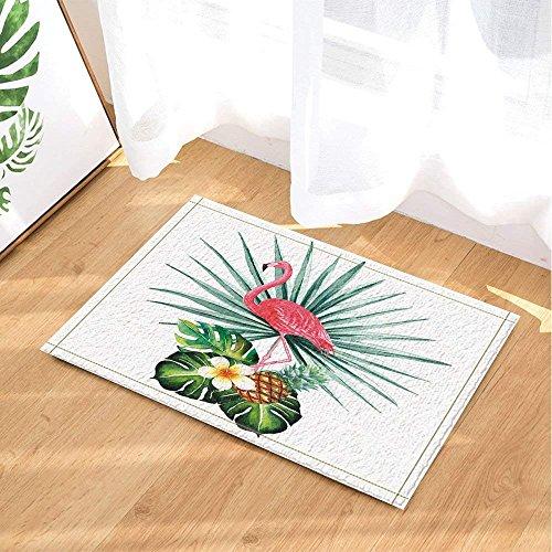 Tropical Decor Flamingo and Pineapple with Leaves Bath Rugs Non-Slip Doormat Floor Entryways Outdoor Indoor Front Door Mat Kids Bathroom Accessories Pink Green