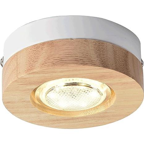 Lámpara LED de techo Crude Madera Marcha techo Spot ...
