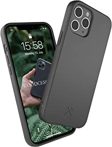 Woodcessories - Phone Case Compatible with iPhone 12 Case Black, iPhone 12 Pro Case Black - Ecofriendly, Made of Plants