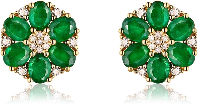 AueDsa Pendientes Oro Verde Pendientes Mujer Oro Amarillo 18k Flor Diamante con Esmeralda Verde Blanca 1.92ct