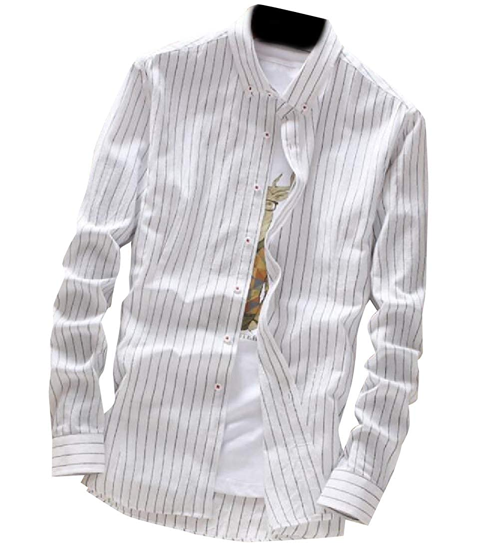 Mfasica Men Turn-Down Collar Stripe Casual Casual Slim Fit Long-Sleeve Shirt