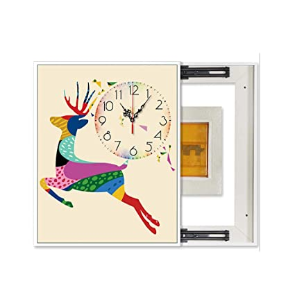JHEY Creative Animal Plant Pattern Clock, medidor eléctrico Cuadro Pintura Decorativa Reloj de Pared Simple