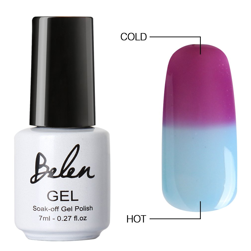 Amazon Belen Chameleon Thermal Colour Changing Gel Polish Soak Off Nail Art Varnish 5703 Beauty