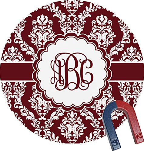 (Maroon & White Round Magnet (Personalized))