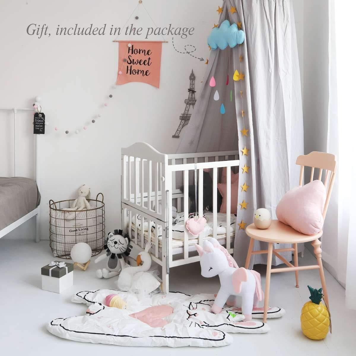 Spielzelt f/ür Babys H/öhe 240 cm Betthimmel Kuppel Baumwolle f/ür Kinderzimmer Dix-Rainbow rund Moskitonetz Betthimmel f/ür Kinder
