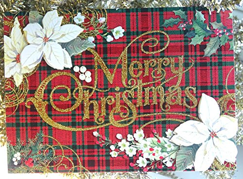 (Punch Studio #14971 Merry Christmas Holiday Tartan & Poinsettia Greeting Cards, Box of 15)