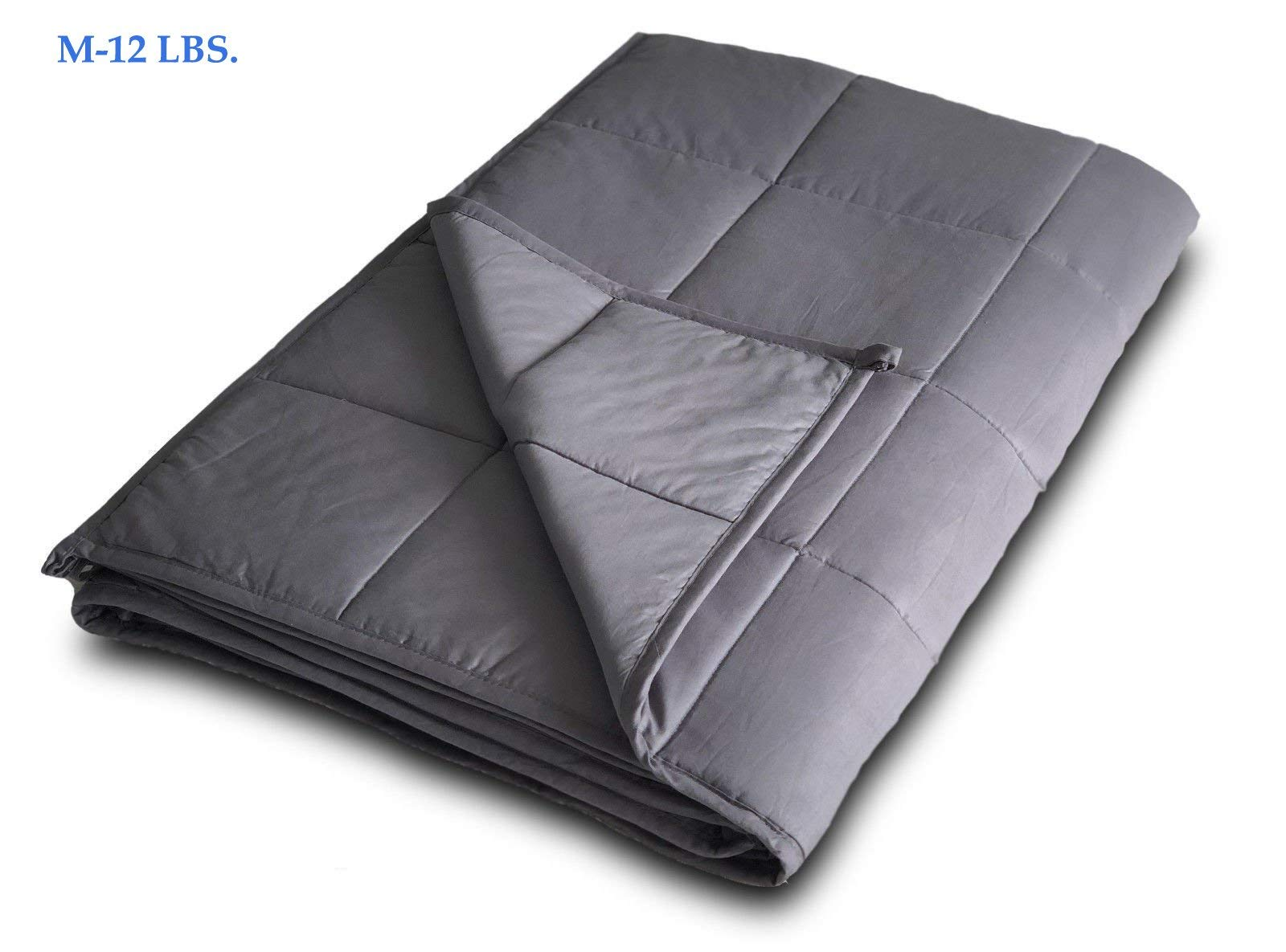 TechFaith Weighted Blanket for Relaxation Adults or Kids, Great Gift Idea Two Sizes and Weights, Sleep Longer and Better (M: 48 x 72, 12)