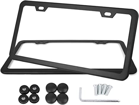 X AUTOHAUX 2 Pcs Stainless Steel Car 2 Hole License Plate Frame Cover w//Screw Caps Black a17081100ux0034