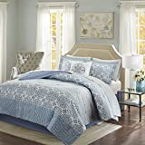 Madison Park Essentials Sybil Twin Size Bed Comforter Set Bed In A Bag - Blue, Striped – 7 Pieces Bedding Sets – Ultra Soft Microfiber Bedroom Comforters