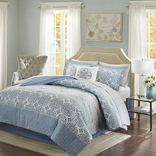 Sybil Complete Comforter and Cotton Sheet Set Blue Twin - Blue Garden Bed Ensemble