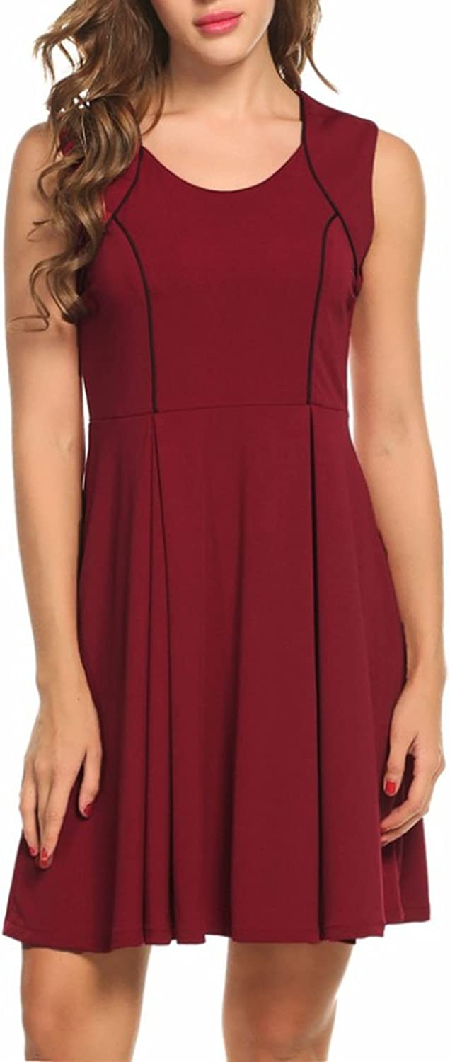 Summer Women Casual O-Neck Sleeveless Elegant Dresses Work Big Swing Vintage Mini Dress,Wine Red,XL