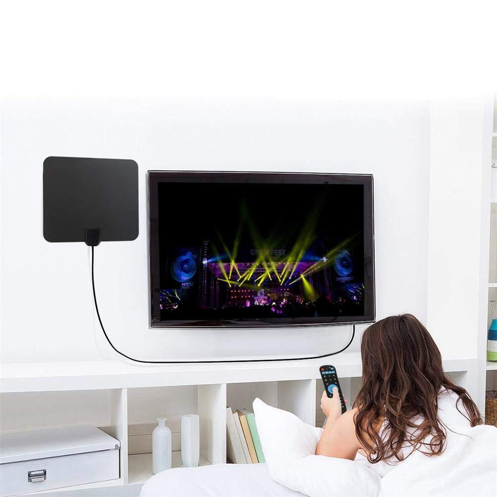 Prise En Charge Amplificateur De Signal HDTV Puissant ATSC Int/érieur 720p//1080i//1080p Amplificateur De Signal USB Antenne TV Num/érique HD Amplifi/ée Longue Port/ée 80 Miles C/âble Coaxial USB Panneau
