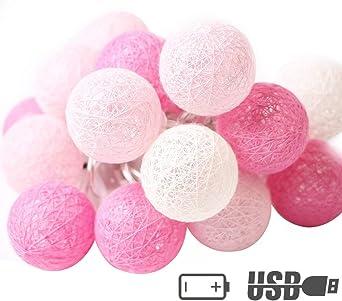 XIYUNTE Bola de algodón Guirnaldas luminosas - 9.8FT / 20LED blanco y rosa bola de algodón (φ6cm) Iluminación de Navidad de interior, Luces hadas decor de interior para Navidad: Amazon.es: Iluminación
