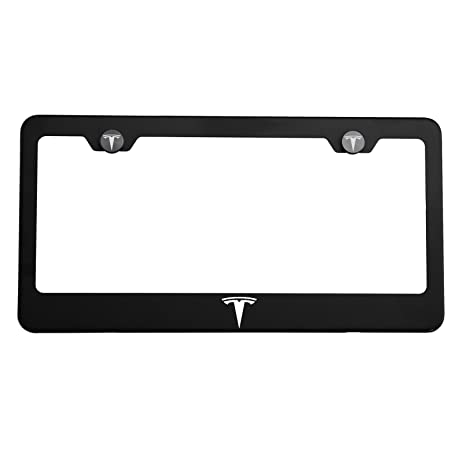 Amazon.com: One Tesla Logo on Matte Black Stainless Steel License ...