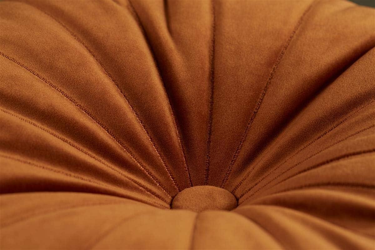 in velluto con bottone al centro Cuscino decorativo rotondo con motivo mandarino KAAT Amsterdam sabbia 40 cm