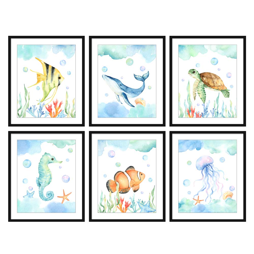 Bestbuddy Pet Set of 6 (8X10) Unframed Watercolor Sea Life Nursery Art Print Set Ocean Animal Wall Art Set Fish Whale Sea Turtle Seahorse Amphiprion Jellyfish Wall Art N020