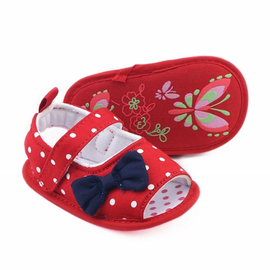LNGRY Sandals,Toddler Kids Baby Girls Boys Polka Dot Bowknot Soft Sole Sandals Crib Prewalker Shoes