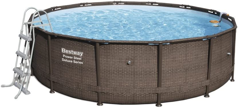 Bestway Kit piscina redonda Power Steel Deluxe 4.27M x 1.07m–incluye alfombra de suelo + lona + escala + filtración skimatic