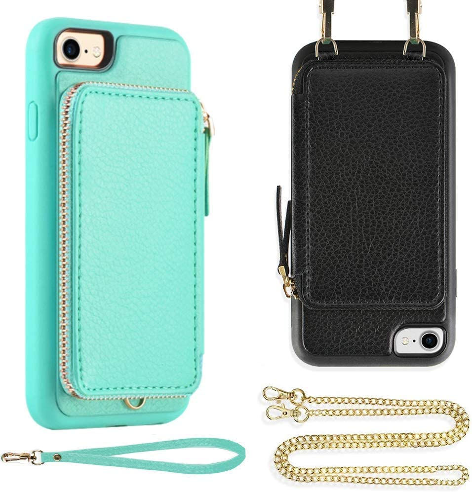 ZVE Wallet Case for iPhone 7/8/SE, Apple iPhone 7 and 8 Zipper Case with Wrist Strap and Crossbody Chain Handbag Purse Protective Cover Case for iPhone 8/7/SE2, 4.7 inch