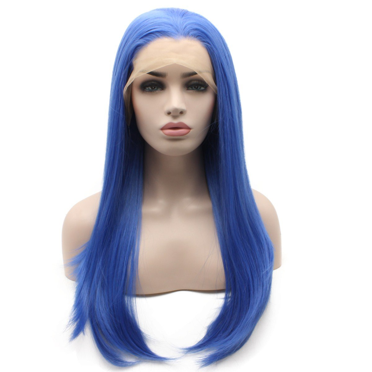 Iewig Blue Long Synthetic Lace Front Straight Wig Heat Resistant