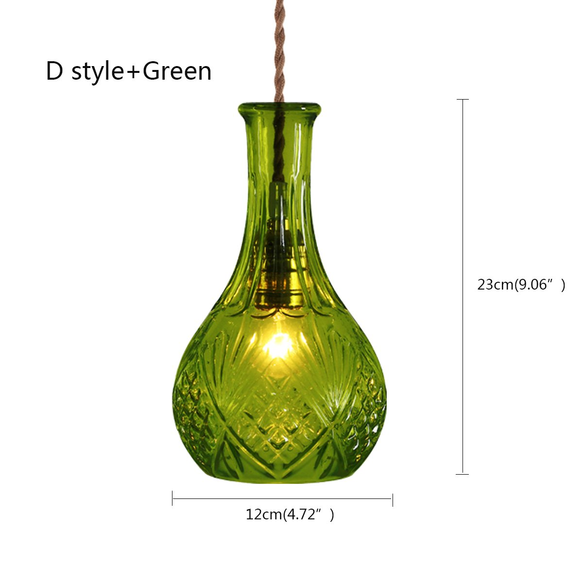 Glass Pendant Light AL-86596C (Green) Creative Personality, Retro Lighting, American Cafe, bar, bar, Clothing Store, Coloured Glass Bottle, Chandelier