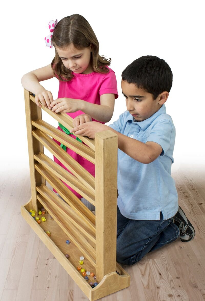 Heirloom Wood Marble Run Track with Glass Marbles, Red & Yellow