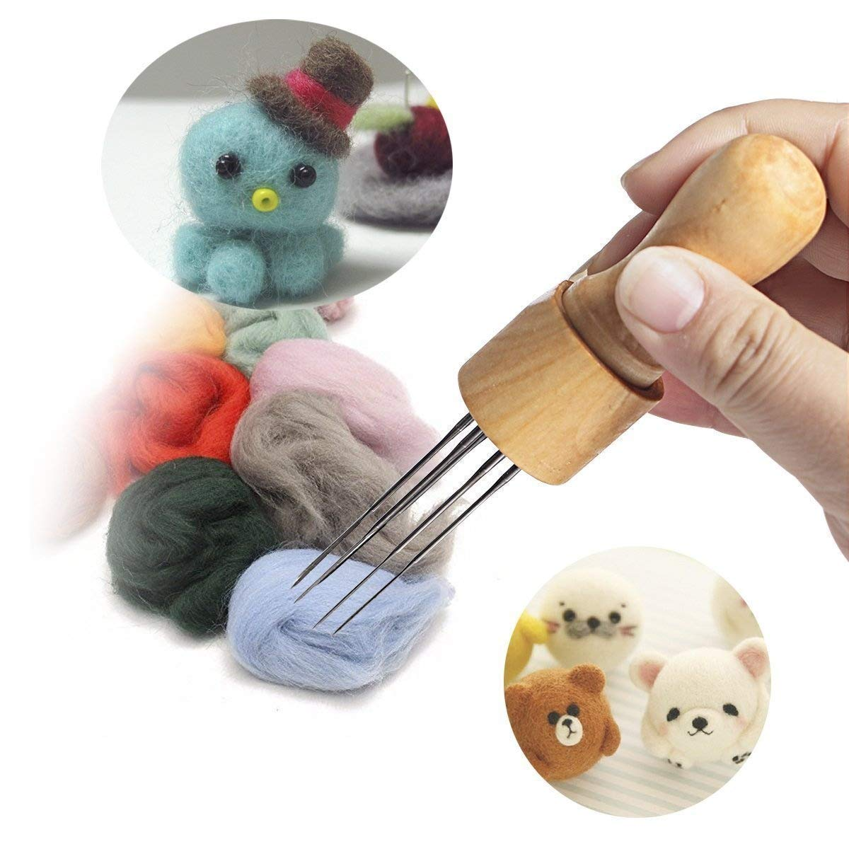 DIY Felting Needle with Eight Needles Tool Craft Wool Felt Stitch Punch Tool with Solid Wood Handle Felting More efficient Co-link 4336935778