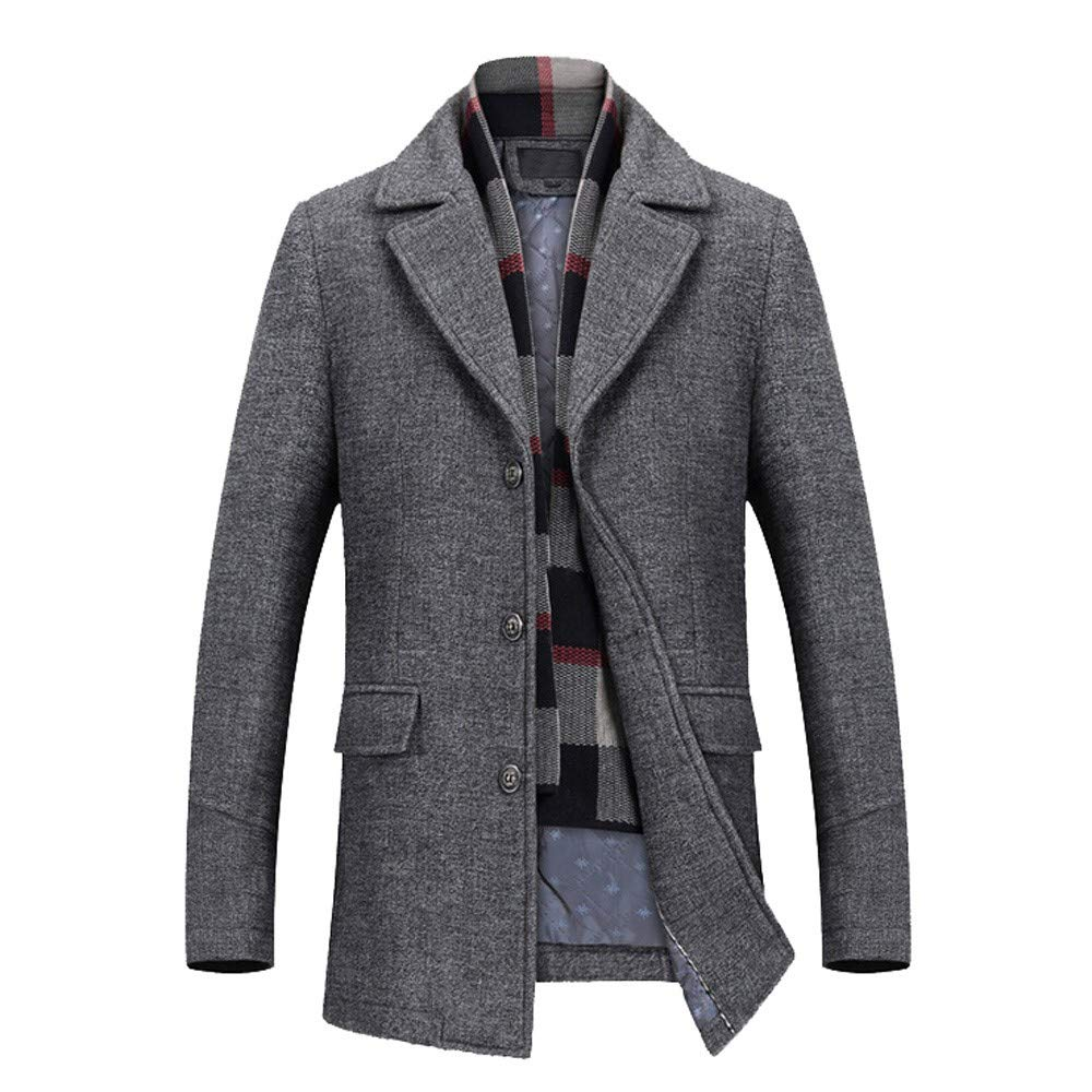 Men's Wool Trench Winter Fashion Formal Business Long Thicken Slim Overcoat Jacket Gray