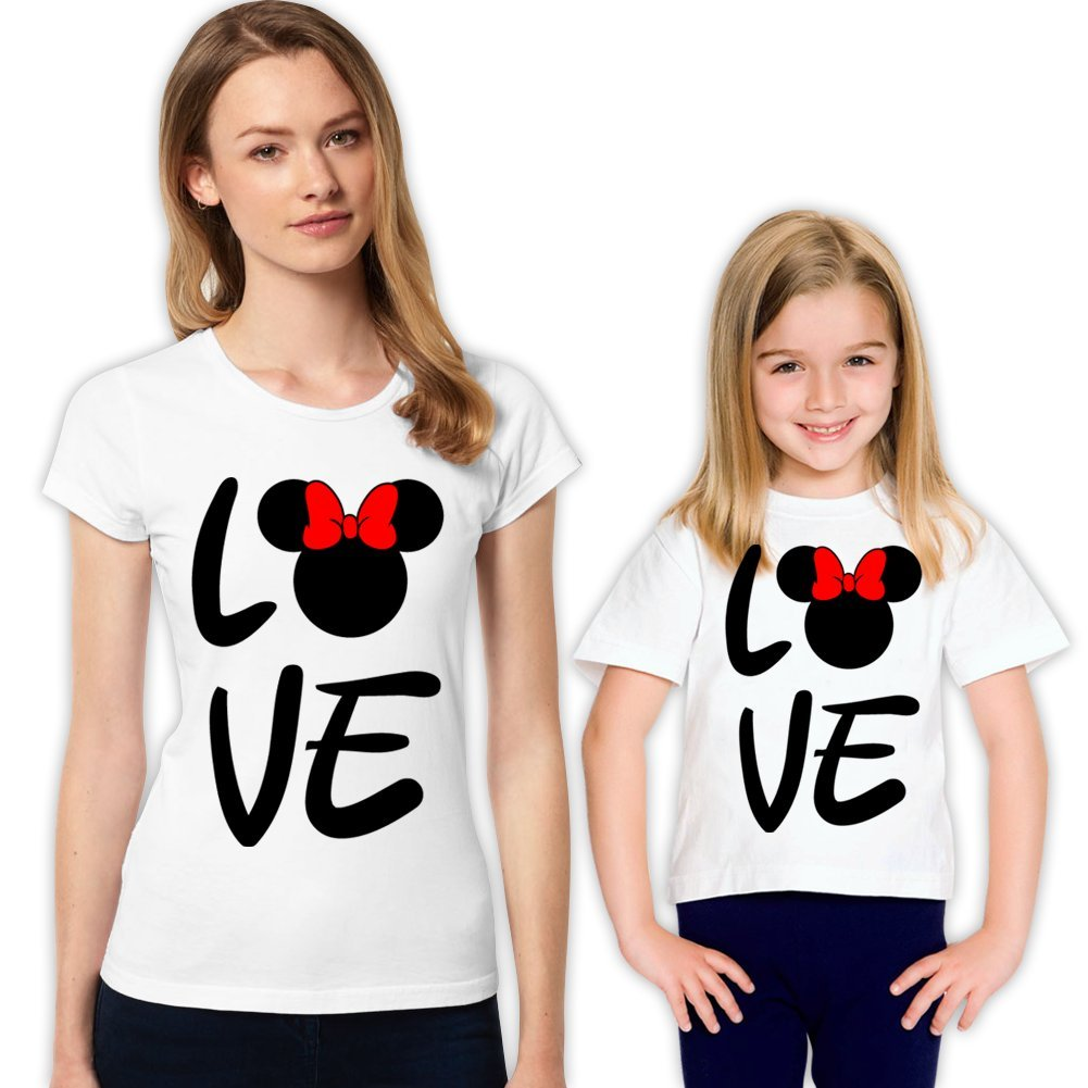 picontshirt Minnie and Minnie Love Mother and Daughter Matching Family Shirt Set 318 S 10-11 yrs