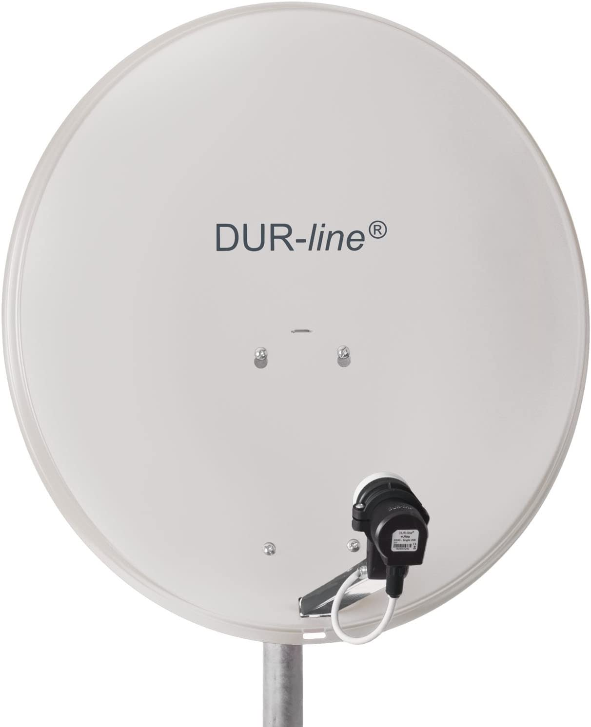 DUR-line MDA - Antena parabólica de aluminio con soporte LNB (60 cm, digital, camping, Astra 19,2°, DVB-S/S2, Full HD, 4K, 3D), color gris claro