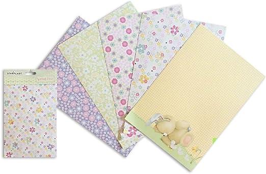 130745 - Pack de 4 Papel decorado para scrapbooking, tamaño A5, 40 hojas: Amazon.es: Hogar