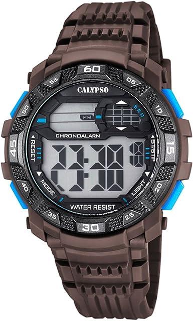 Calypso de hombre reloj de pulsera Sport Digital PU reloj de pulsera Marrón de cuarzo esfera marrón negro uk5702/4