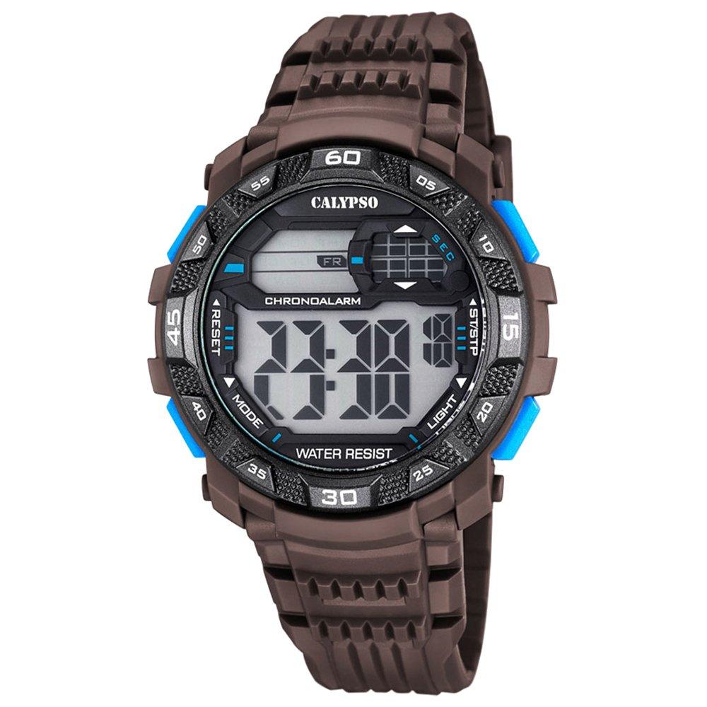 Hombre-reloj Calypso PU-pulsera deporte digital colour marrón y negro cuarzo-reloj esfera UK5702/4