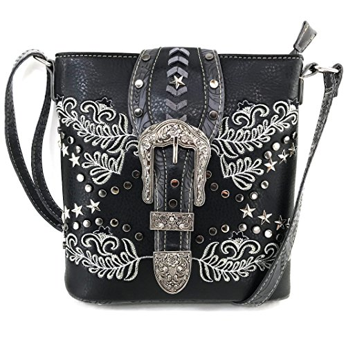 Justin West Buckle Western Floral Damask Embroidery Studs Stars Concealed Carry Handbag Purse (Black Messenger - Justin Black