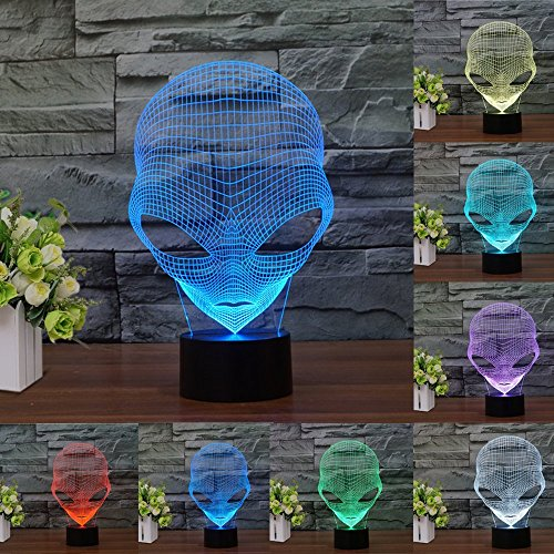 New 3D Night Light- Modern Meditation Mood Lamp - 3D Illusion Lamp 7 LED Light Colors Optical Illusion with USB Cable Smart Touch Button Control,for Home Decor Office Party (Martian Alien) by LOVEing