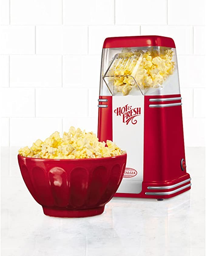 Candy Stripe Red//White Nostalgia OFP521 12-Cup Hot Air Popcorn Maker